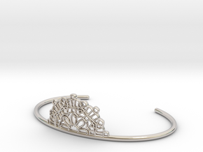 Half Lace Cuff - small in Rhodium Plated Brass
