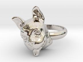 French Bulldog  ring in Rhodium Plated Brass