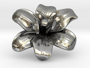 Lily Flower 1 - M in Fine Detail Polished Silver