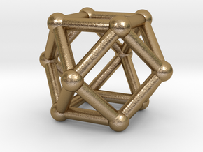 0281 Cuboctahedron V&E (a=1cm) #002 in Polished Gold Steel