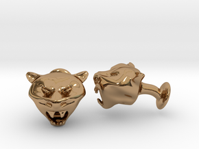 Tiger Head Cufflinks in Polished Brass