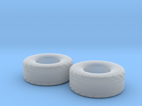 1/43 Scale Pair Of 325 70 15 MT Slicks in Smooth Fine Detail Plastic