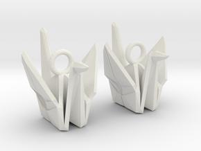 Origami Crane Earrings in White Strong & Flexible