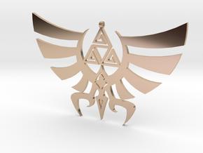 Triskele Hyrule Crest Pendant in 14k Rose Gold Plated Brass