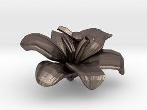 Lily Flower Rock 1 - S in Polished Bronzed Silver Steel