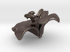 Lily Flower Rock 1 - L in Polished Bronzed Silver Steel