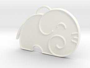 Elephant Silhouette in White Processed Versatile Plastic