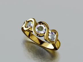 Three Stone Engagement Ring in Smooth Fine Detail Plastic