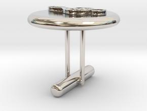 Treble Cle Cufflink 2 in Rhodium Plated Brass