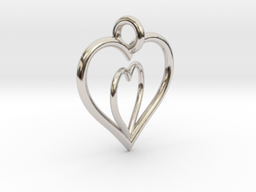 Love Hearts in Rhodium Plated Brass
