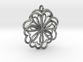 Hearts Flower in Fine Detail Polished Silver