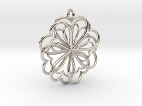Hearts Flower in Rhodium Plated Brass