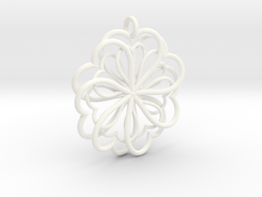 Hearts Flower in White Processed Versatile Plastic