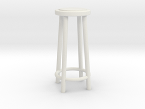 "1:48 34"" Simple Stool in White Natural Versatile Plastic"