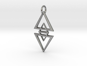 Geo Gothic Pendant in Natural Silver