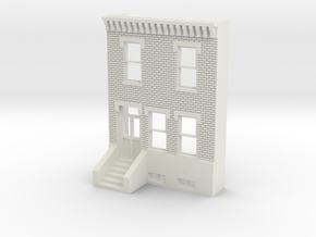 O SCALE ROW HOUSE FRONT BRICK 2S  in White Natural Versatile Plastic
