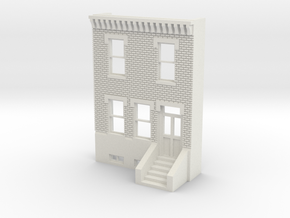 O SCALE ROW HOUSE FRONT BRICK 2S REV in White Natural Versatile Plastic