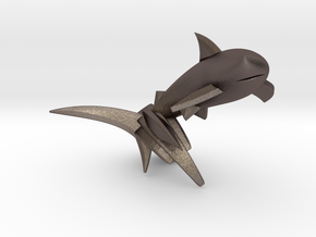 Key Chain - Jumping Shark  in Polished Bronzed Silver Steel