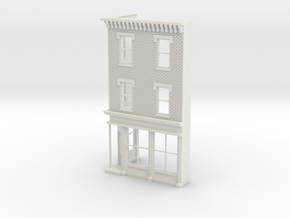 O scale Philadelphia Corner store Front  3 stories in White Natural Versatile Plastic