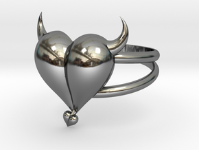 Size 11 Evil Heart Ring in Fine Detail Polished Silver