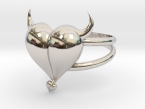 Size 10 Evil Heart Ring in Rhodium Plated Brass