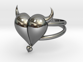 Size 9 Evil Heart Ring in Fine Detail Polished Silver