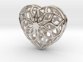 Valentine Heart - Big in Rhodium Plated Brass