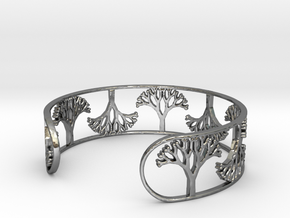 Natural Tree Bracelet 7in (18cm)  in Fine Detail Polished Silver