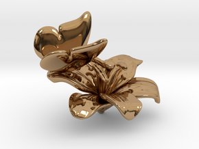 Butterfly And Lily Flower - S in Polished Brass