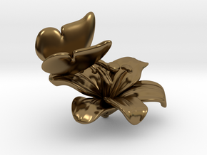 Butterfly And Lily Flower - S in Polished Bronze