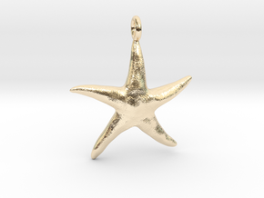 Star Fish With Ring in 14k Gold Plated Brass