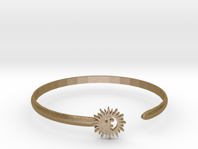 Le Soleil et La Lune Bangle in Polished Gold Steel