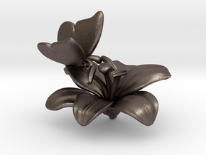 Butterfly And Lily Flower - L in Polished Bronzed Silver Steel