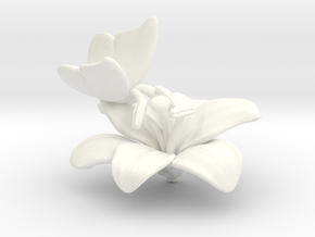Butterfly And Lily Flower - L in White Processed Versatile Plastic