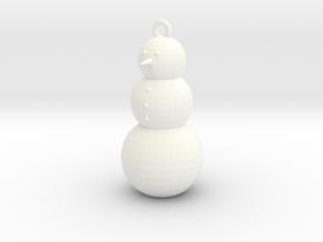 Snowman Ornament in White Processed Versatile Plastic