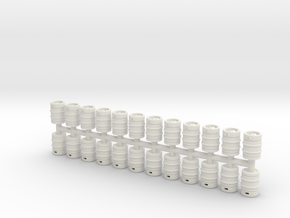 Beer Barrel. HO Scale (1:87) x24 units in White Natural Versatile Plastic