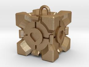 Companion Cube Pendant in Matte Gold Steel