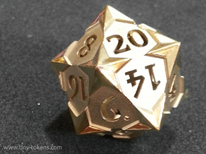 'Starry' D20 Balanced Gaming Die in Polished Brass