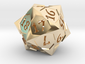 'Starry' D20 Spindown Life Counter Die in 14k Gold Plated Brass