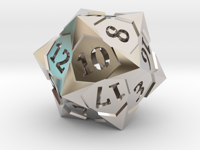 'Starry' D20 Balanced Gaming Die in Rhodium Plated Brass