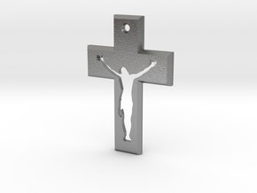 Crucifix Beta 3x2cm in Natural Silver