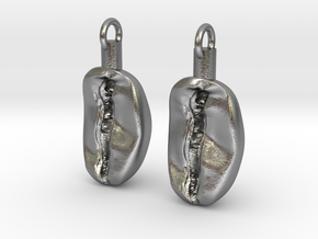 Coffee Bean Earrings in Natural Silver