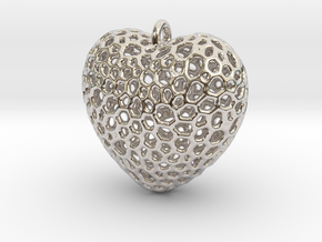 Heart Pendant #1 in Rhodium Plated Brass