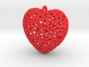 Heart Pendant #1 in Red Processed Versatile Plastic