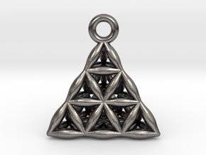 Flower Of Life Tetrahedron Pendant in Polished Nickel Steel