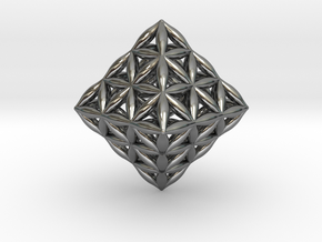 Flower Of Life Octahedron in Fine Detail Polished Silver