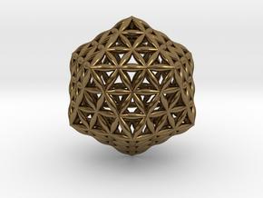 Flower Of Life Icosahedron in Polished Bronze