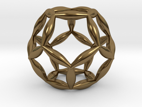Flower Of Life Dodecahedron in Polished Bronze