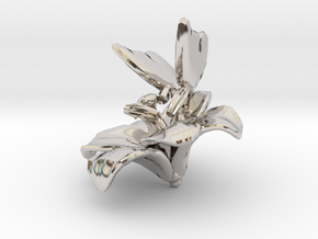 Butterfly And Lily Flower 1 Rock - M in Rhodium Plated Brass