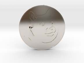 Dogecoin in Rhodium Plated Brass